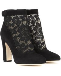 Dolce & Gabbana Vally Suede and Lace Ankle Boots - Lyst