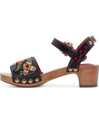 Dolce & Gabbana Black Leather Wooden Sole Clogs - Lyst