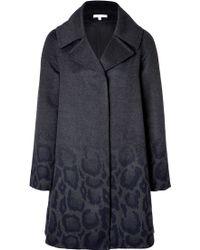 Paule Ka Wool-Angora Coat With Leopard - Lyst