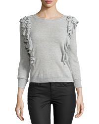 Rebecca Taylor Double-Ruffle Pullover Sweater - Lyst