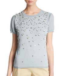 RED Valentino Embellished Knit Sweater - Lyst