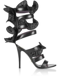 Emanuel Ungaro - Wrap-around Ruffled Leather Sandals - Lyst