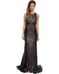 Badgley Mischka Color Block Sequin Runway Gown - Lyst