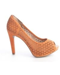 Sofia Z - Tangerine Lattice Cutout Leather 'nicole' Supreme Comfort Peep Toe Pumps - Lyst