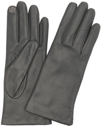 Portolano | Iron Grey Cashmere Lined Leather Snowflake Detail Itouch Gloves | Lyst