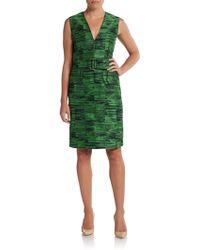 Calvin Klein Belted Jacquard Dress - Lyst