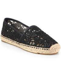 Tory Burch Lucia Leather Lace Espadrilles blue - Lyst
