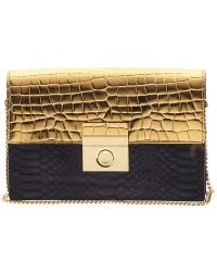 Milly Sienna Gold Clutch - Lyst