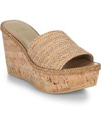 Stuart Weitzman Laniard Cork-Wedge Woven Sandals - Lyst