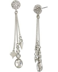 Betsey Johnson Multichain Linear Charm Earrings - Lyst