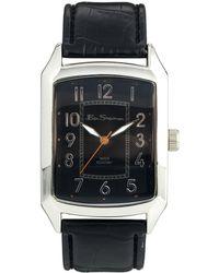 Ben Sherman Black Leather Look Strap Watch Bs027 - Lyst