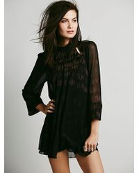 Free People Hi Neck Printed Mini Dress - Lyst