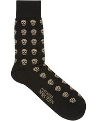 Alexander McQueen Black Skull Print Stretch Cotton Blend Socks - Lyst