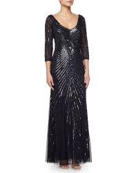 Aidan Mattox Beaded Tulle and Chiffon Gown - Lyst