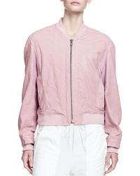 Helmut Lang Furrow Leather Bomber Jacket - Lyst