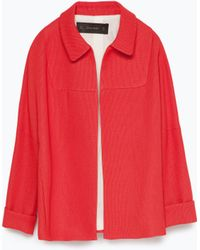 Zara Shirt Collar Jacket - Lyst