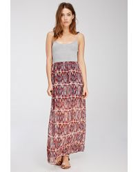 Forever 21 Tribal Print Combo Maxi Dress - Lyst