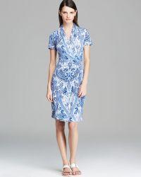 Karen Kane - Paisley Cascade Wrap Dress - Lyst