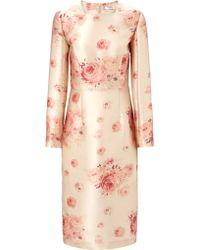 Vilshenko Gold Rose Print Valentina Dress - Lyst
