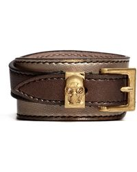 Alexander McQueen Double Wrap Skull Metallic Leather Bracelet - Lyst