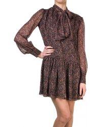 Saint Laurent | Paisley Fantasy Bow Collar Dress | Lyst
