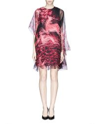 Lanvin Prancing Animal Print Organza Shift Dress - Lyst