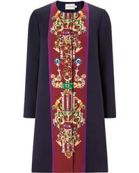 Mary Katrantzou Aline Coat Corona Navy Burgundy - Lyst