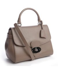 Mulberry Taupe Leather Medium Sized Top Handle Bag - Lyst