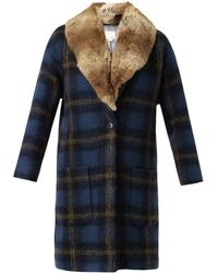 Band of Outsiders - Windowpane Check Fur-trimmed Coat - Lyst