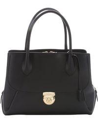 Ferragamo Black Leather 'East/West Fiamma' Tote Bag - Lyst