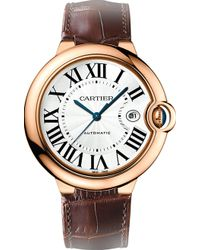 Cartier Ballon Bleu De 18Ct Pink-Gold And Leather Watch - For Men brown - Lyst
