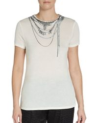 Haute Hippie Printed Sequin-detailed Tee - Lyst
