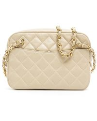Chanel Preowned Beige Lambskin Vintage Camera Bag - Lyst