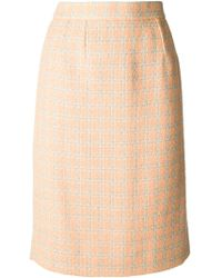 Lanvin Vintage Orange Houndstooth Skirt - Lyst