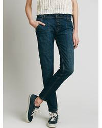 Free People Womens Buttonfront Low Slung Skinny - Lyst