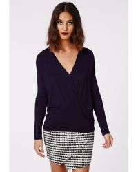 Missguided Harper Long Sleeve Jersey Wrap Front Top Navy - Lyst