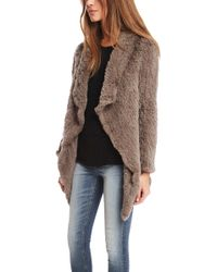 June Wear Oversized Fur Knitted Coat - Lyst