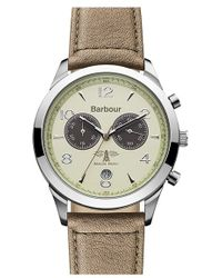 Barbour - 'heritage' Chronograph Leather Strap Watch - Lyst