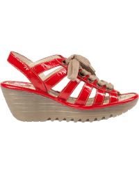 Fly London Yito Wedge Sandal Red Patent - Lyst