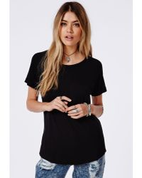 Missguided Rolled Sleeve Jersey T Shirt Black - Lyst