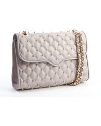 Rebecca Minkoff Dove Grey Leather Studded Quilted Affair Shoulder Bag - Lyst