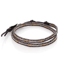 Chan Luu Two-Tone Beaded Leather Double-Row Wrap Bracelet - Lyst