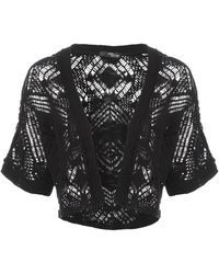 Jane Norman Crochet Knit Shrug Cardigan - Lyst