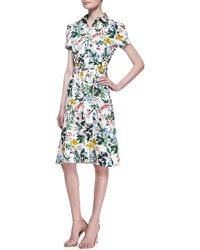 Carolina Herrera Botanical Shortsleeve Shirtdress - Lyst