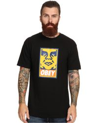 Obey Orange Icon Face Basic Tee - Lyst