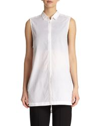 Helmut Lang Sleeveless Cotton Tunic Blouse - Lyst