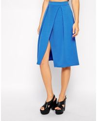 Asos Midi Skirt with Crossover Front in Scuba - Lyst