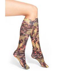 Strathcona - Bird Print Knee High Socks - Lyst