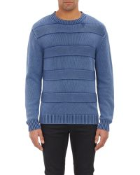 Shipley & Halmos - Acid-washed Mixed-stitch Crewneck Jumper - Lyst
