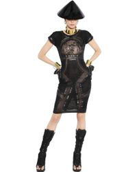 KTZ - Faux Leather Dress With Mesh Inserts - Lyst
